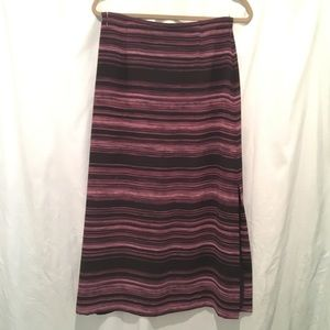 Liz Claiborne long thin purple black stripe skirt